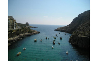 Picture of the view of Xlendi Bay from Hotel San Andrea