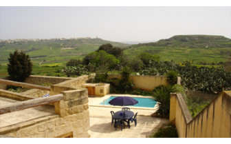 Picture of the view from a private Gozo farmhouse