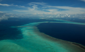 Picture of the aerial view of the reef at Palau Pacific Resort