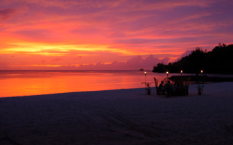 Picture of sunset dining at Palau Pacific Resort