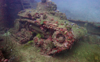 Picture of a tank wreck diving off The Odyssey