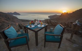 Sunrise breakfast at the beach at Six Senses Zighy Bay hotel