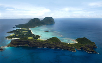 Aerial view of Lord Howe Island in the Pacific Ocean