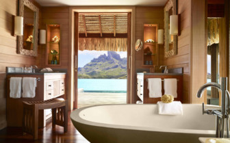 Bathroom in an over water bungalow