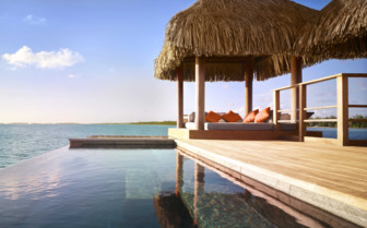 Terrace of a luxury over water bungalow
