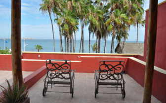 The ocean view terrace at Posada de las Flores