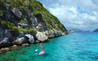 Paddleboarder on a diving holiday