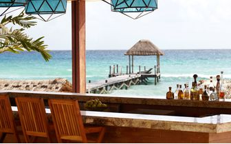 The coral bar at Viceroy Riviera Maya, luxury hotel in Mexico