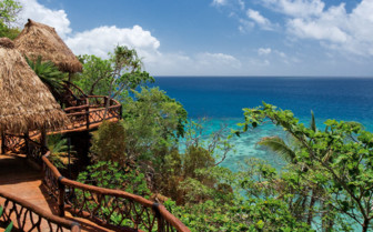 Picture of view from hilltop at Laucala Island