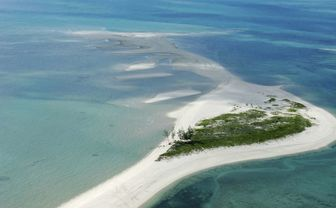 Aerial view of an island in Mozambique
