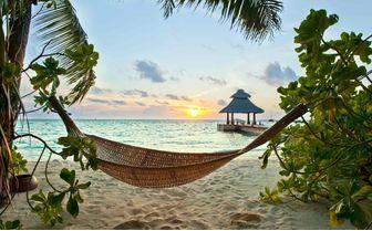Beach Hammock at Sunset, Maldives