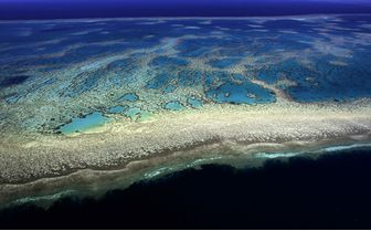 Aerial stretch of the Great Barrier Reef