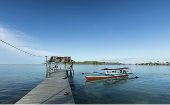 Wooden pier with boat, Northern Sulawesi