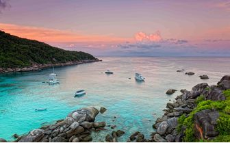Sunrise over bay, Western Thailand