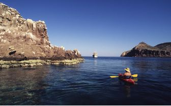 man kayaking in Baja California