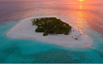 desert island sunset