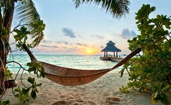 Beach hammock in the Maldives