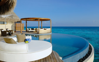 The pool at W Retreat & Spa, luxury hotel in the Maldives
