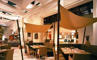 Dining at the hotel restaurant at Shangiri- la Barr al Jissah