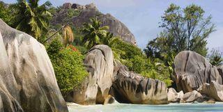 Cliffs overlooking beach, Seychelles
