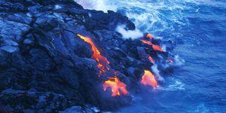 Lava flowing into sea, Hawaii