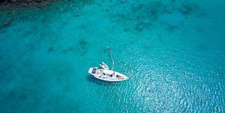 Boat in the ocean in the Caribbean