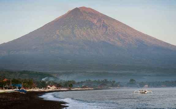 Mount Agung from the beach