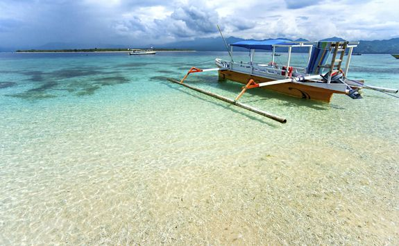 Boat on beach in the Gili Islands