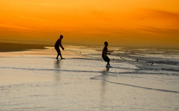fisherman at sunset in Mozambique