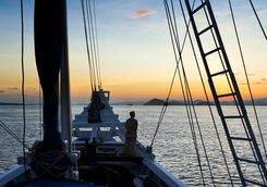 Sunset sailing on an Indonesian phinisi