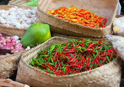 Chillies in an Ubud market