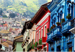 quito street view with colourful houses