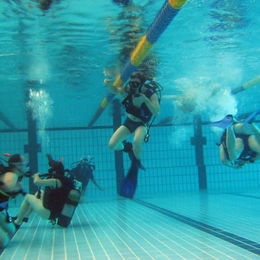 Dive lesson in pool
