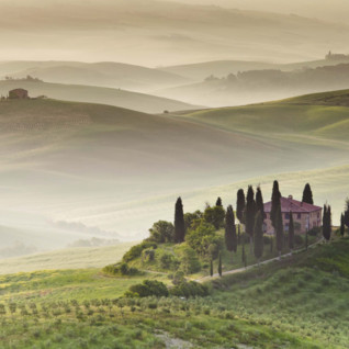 The rolling Tuscan hills in the mist