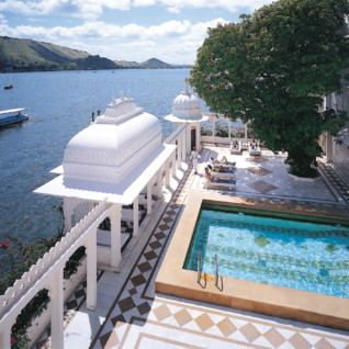 Pool at Taj Lake Palace, luxury hotel in India