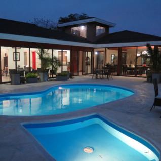 Rancho Humo pool at night
