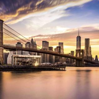 Aerial view of New York City Skyline and Brooklyn Bridge