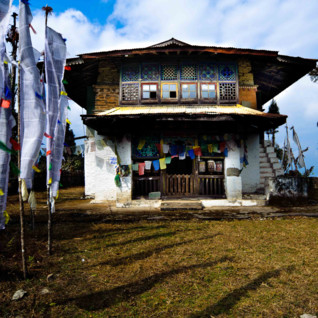 Sikkim village house and flags