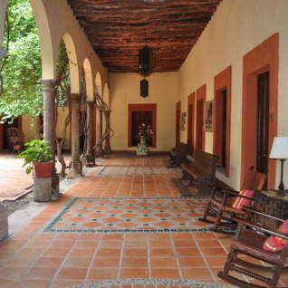 The terrace at Posada Hidalgo, luxury hotel in Mexico