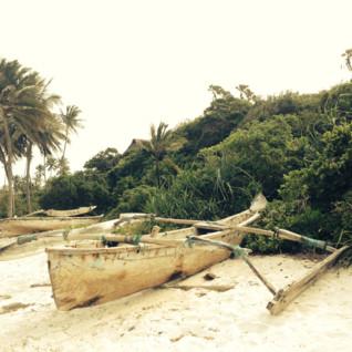 Wooden boat on the beach at Saruni Samburu