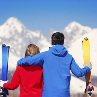 Couple on a Ski Honeymoon