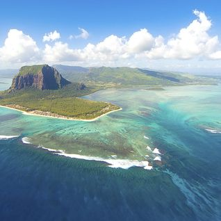 An aerial of the island of Mauritius