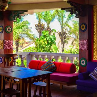 colourful lounge area