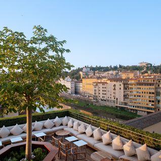 Terrace overlooking city