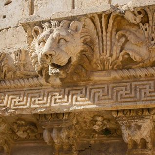 Baalbeck lion carving