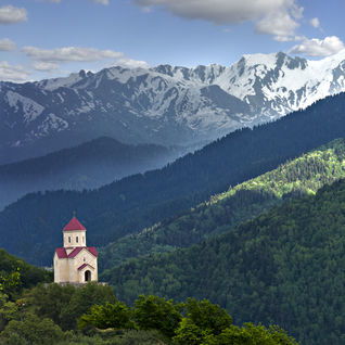 Church in the Caucasus Mountains