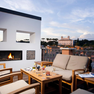 Terrace at Portrait Roma hotel, luxury hotel in Italy