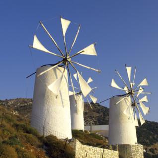 Hillside Windmills in Crete