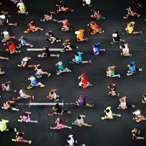 An aerial shot of a running event