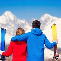 Couple on ski honeymoon